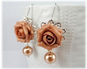 Dusty Rose Pearl Earrings - Dusty Pink Pearl Earrings, Rose Filigree Earrings, Dusy Pink Rose Bridesmaid Earrings, Rose Pearl Pink Earrings