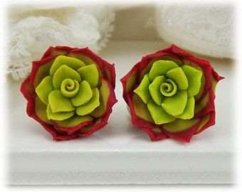 Red Succulent Earrings Stud or Clip On - Red Succulent Jewelry Collection