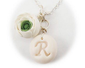 Personalized White Ranunculus Initial Necklace - Ranunculus Jewelry Collection