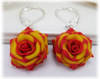 Red Yellow Rose Lightweight Drop Earrings or Dangle Earrings Style