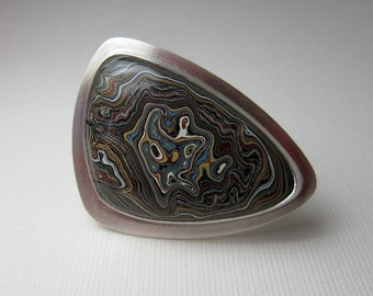 Fordite Ring, Sterling Silver Ring, Geekery, Automobile Ring, Cocktail Ring