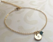 Personalized Disc Bracelet Gold Bracelet Friendship Bracelet Bridesmaids Jewelry Dainty Gold Bracelet with Bead