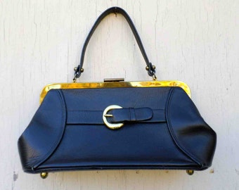 Vintage Sixties Sturdy Black Vinyl and Brass Buckle Hand Bag by Calderon