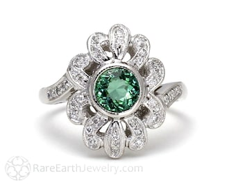 Green Tourmaline Ring Art Deco Vintage Ring Antique with Diamonds Right Hand Ring 14K White Gold