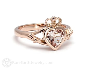 Claddagh Ring Morganite Engagement Ring Irish Promise Ring 14K or 18K Gold or Platinum