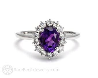 Amethyst Ring Oval Cluster Halo with Diamonds February Birthstone Purple Gemstone Ring