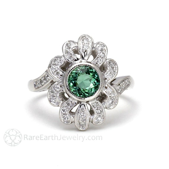 green tourmaline ring deco vintage ring antique with