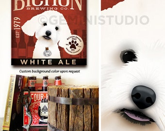 BICHON FRISE dog beer brewing company graphic art on gallery wrapped canvas by stephen fowler