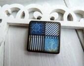"Nautical Sailboat Wheel Anchor Light Dark Blue Jean Stonewashed Wave Seersucker Stripe 1"" Square Pendant ART Tile"