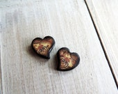 "Neutral Brown Tan Paisley Floral Contemporary Heart Swirl mini 5/8"" x 1/2"" Wood Tile Charm pair"