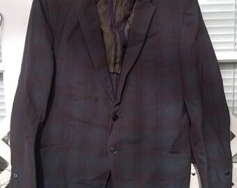 Sharkskin blazer , 60s skinny lapel, mad mod men, subtle plaid,  mod sportcoat, true vintage sz 38 , Mens Small