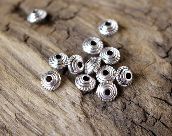 100 5x3mm Fancy Saucer Spacers Antiqued Silver Colored Beads