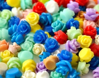 100 Pc. Tiny Resin Rose Flower Cabochons 7.5 mm