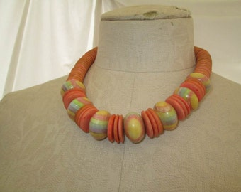 Peachy Orange 70s Beaded Necklace Big Pastel beads 70s vintage Boho necklace 70s vintage necklace vintage choker necklace