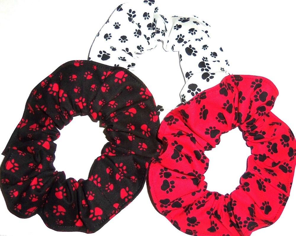 Paw Prints Fabric Hair Ties Scrunchie Red Black White Pets