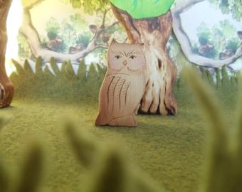 Wooden Owl Toy Waldorf wood natural animal figure