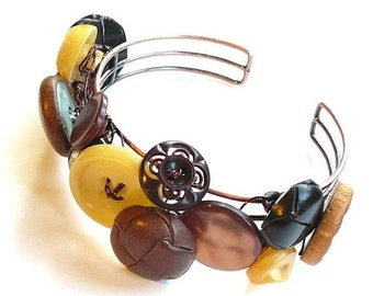 ON SALE Brown and Yellow Upcycled Vintage Button Bangle Bracelet
