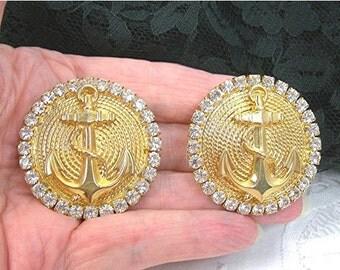 "Nautical Anchor Earrings, Large Clipons 1-3/4"" wide, Goldplate, Rhinestones, Statement Earrings, Vintage c1980s Costume Jewelry"