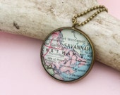 Savannah, Georgia Vintage Map Necklace, Going Away Gift For a Friend, Southern Travel Souvenir, City Worker Retirement Presnt