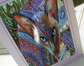 greeting card print of original art-siamese cat Zentangle