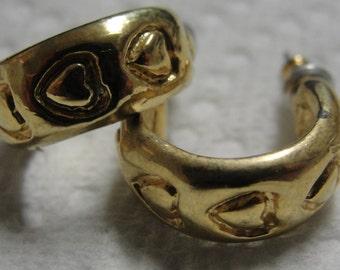 Gold Tone  Heart Hoop Pierced Earrings