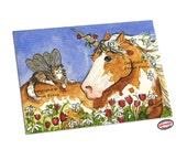 ACEO Palomino Pinto Unicorn Brown Tabby Maine Coon Kitty Fairy Fantasy Winged Cat Horse Art ACEO ATC Print Daisies Tulips Flowers