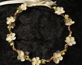 Bridal Flower Crown, Ivory Wedding Headband, Pearl Bridal Headband, Boho Bridal Crown, Dainty Flower Crown, Bridal Halo, Hair Wreath