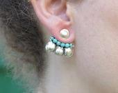 Ear Jacket Earrings, Ear Jacket Silver, Ear Cuff, Sterling Silver, silver turquoise earrings, Contemporary Jewelry, Stud Earrings, Earings