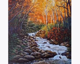 "Original 18""x 24"" acrylic on wrapped canvas ""Colorful Fall Landscape"""
