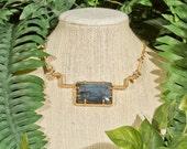 Geometric Labradorite Necklace - Gold Filled