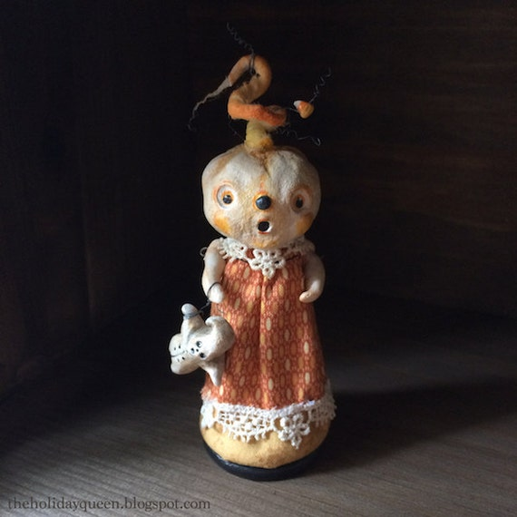 Halloween Candy Corn Art Doll with Ghost