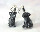 Black dog earrings - pupp...