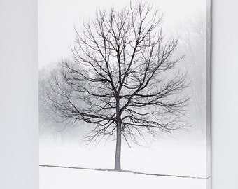 Winter Landscape Canvas Art Print - Black and White Tree Photography - Winter Tree Wall Decor - Tree Art - Extra Large Art - Rustic Canvas