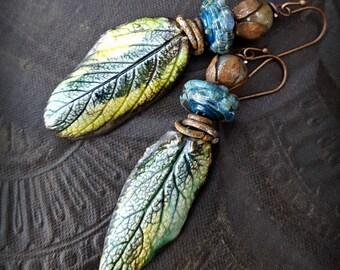 Lampwork Glass, Porcelain Drops, Ceramic, Leaves, Primitive, Organic, Rustic, Nature, Trees, Earthy, Beaded Earrings