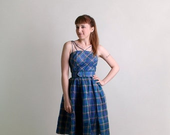 ON SALE Vintage 1950s Dress - Plaid Sheer Party Dress in Sky Blue - Small