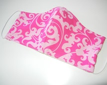 Fabric Surgical Face Mask in Pink Scroll