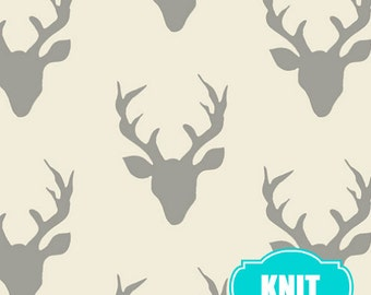 Hello Bear KNIT fabric, Deer Fabric by Bonnie Christine, Art Gallery, Jersey Knit, Stretch fabric- Buck Forest in Silver, Choose the Cut