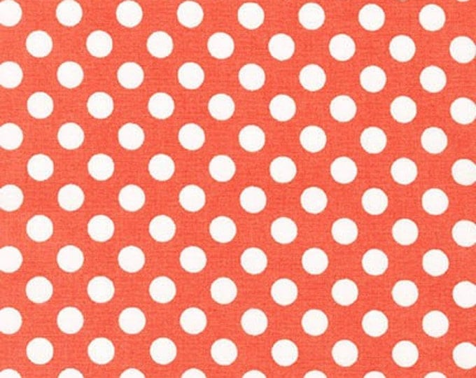 Sale Fabric, Spot on Polka Dot fabric, Quilt fabric, Cotton Fabric by the Yard, White and Coral fabric, Robert Kaufman, Choose your cut
