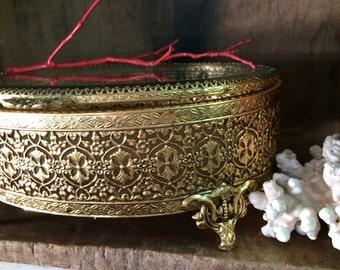 VINTAGE BOX...oval jewelry box ~ metal ~ beveled glass ~ mid century ~ vanity ~ office
