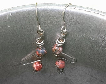 sterling silver earrings handcrafted with leopardskin jasper natural gemstone beads groovy mod designer jewelry