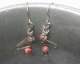 sterling silver earrings handcrafted with natural leopardskin jasper gemstone beads bold avant garde designer jewelry