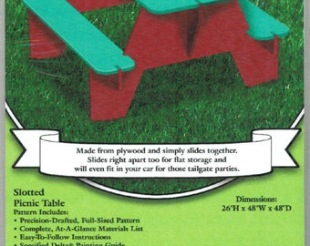 PATTERN Slotted Picnic Table Yard Art Woodworking Plans by Sherwood Creations