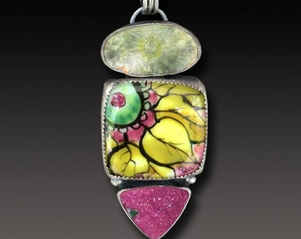 Enamel  Pendant Sterling Silver  Pendant with Hand painted enamel on glass and druzy