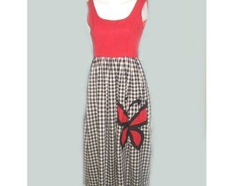 Vintage 1960's Gingham Dress with Butterfly Applique