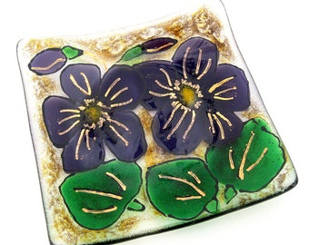 Small Fused Glass Trinket Dish with Purple Flowers and Gold Accents