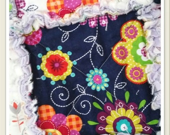 Twin Rag Quilt, Teen Girl Bedding, Extra Long, Flannel, Navy, Lime, Orange, Purple, Flowers Dots, Ready to Ship