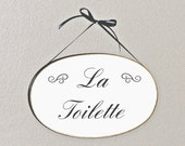Home Office Decor Wood Sign, French Country, Shabby Cottage Chic, La Toilette Plaque, Hanging Bathroom Powder Room Phrase, Handmade Signage