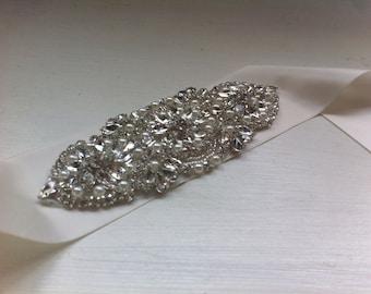 Bridal sash, wedding sash, wedding accessories, rhinestone, satin