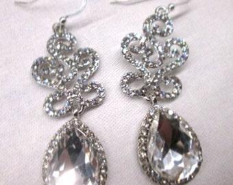 Bridal jewellery earrings/ jewelry/ wedding jewellery/ bridal accessories/ Diamante earrings