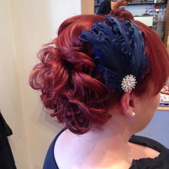 New handmade 1920s inspired navy blue feather fascinator